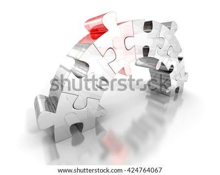 piece of red puzzle connect bridge two groups. business concept 3d render illustration