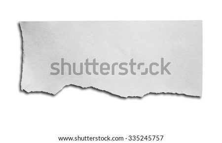 piece of ripped white paper on white background with clipping path.
