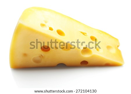 Piece of tasty cheese isolated on white - stock photo