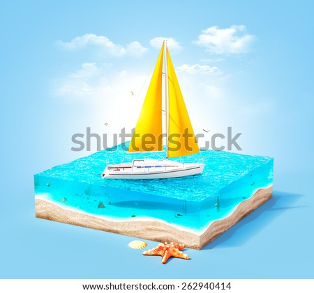 Piece of tropical island with luxury white yacht in ocean in cross section.  Unusual travel illustration - stock photo
