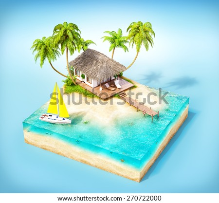 Piece of tropical island with water, palms and bungalow on a beach in cross section.  Unusual travel illustration - stock photo