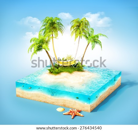 Piece of tropical island with water, palms and hammock on a beach in cross section.  Unusual travel illustration - stock photo