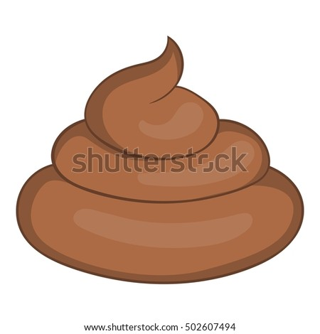 Piece of turd icon in cartoon style isolated on white background  illustration
