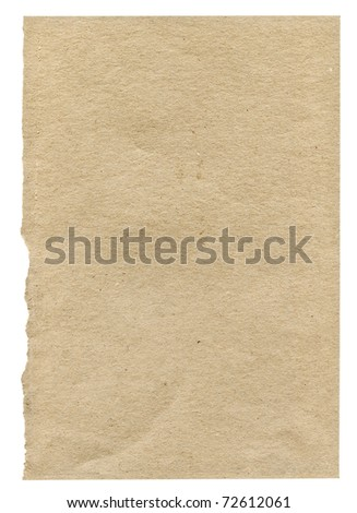piece of very rough paper isolated on white background, one edge is frayed