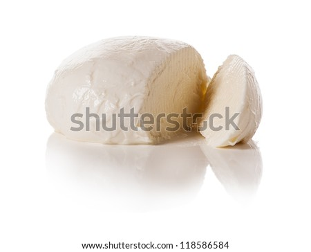 Piece of white mozzarella on white background - stock photo