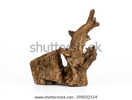 Piece of wood on white background, Old wood, Wood for home and garden decoration. - stock photo