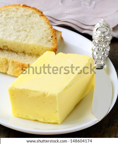 piece of yellow butter for breakfast