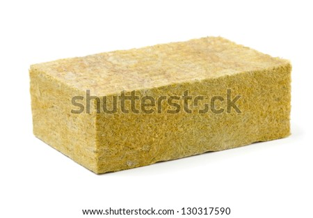 Piece of yellow fiberglass insulation mat isolated on white - stock photo