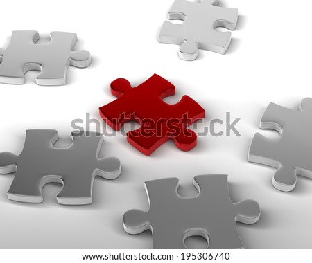 Piece that Stands out Red Piece of Jigsaw amongst the others - stock photo