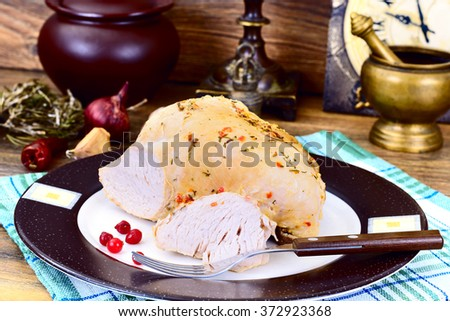Piece Turkey in Spices for Grilling on Woody Background Studio Photo - stock photo