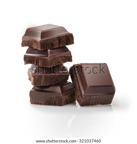 Pieces of black Chocolate isolated on white background - stock photo