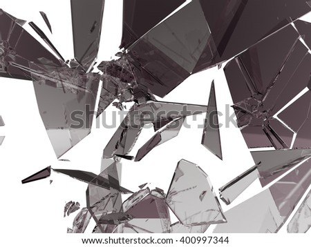 Pieces of Broken and Shattered glass on white - stock photo