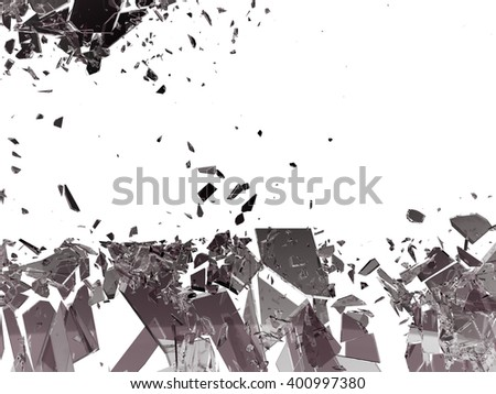 Pieces of Broken or Shattered glass isolated on white. Large size - stock photo