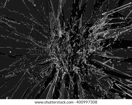 Pieces of broken or Shattered transparent glass on black - stock photo