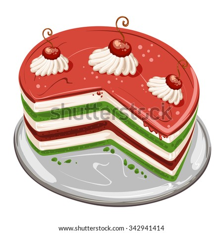Pieces of cake with cherries - stock photo
