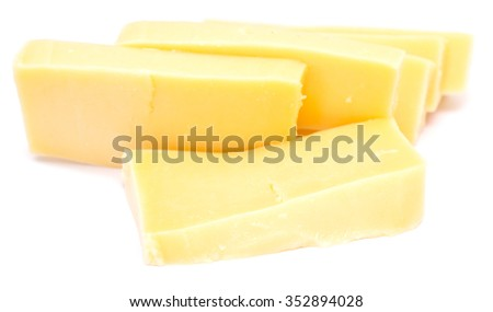 pieces of cheese isolated on white background