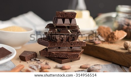 pieces of chocolate - stock photo