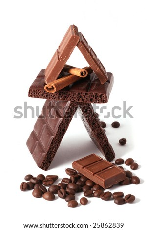 Pieces of chocolate on a white background - stock photo
