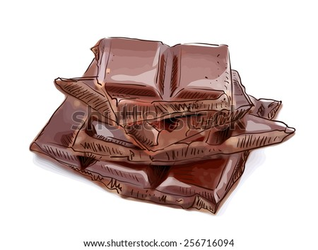 Pieces of chocolate. Raster version. - stock photo