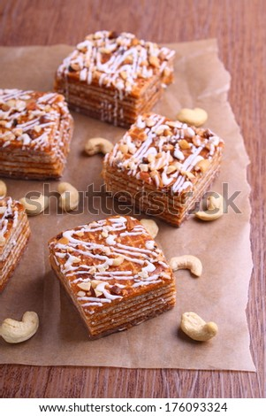 pieces of chocolate wafer cake with nuts