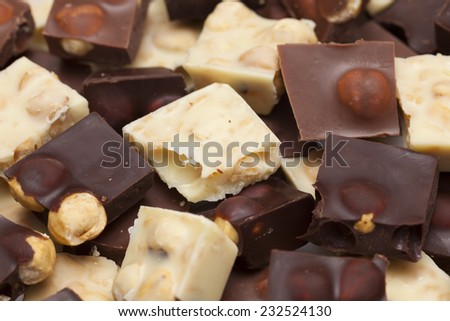 Pieces of chocolate with nuts - stock photo