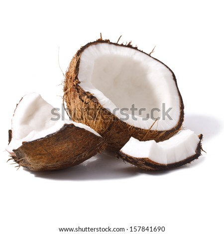 Pieces of coconut isolated on a white background  - stock photo