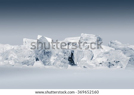 Pieces of crushed ice. Contain clipping path. - stock photo