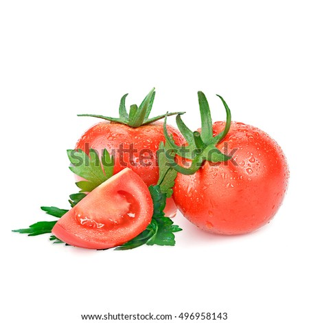 Pieces of cut fresh tomato on a white background with shadow