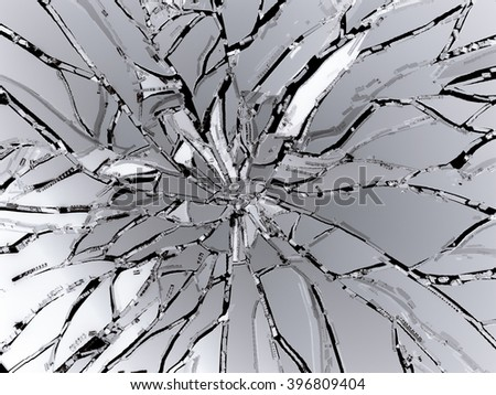 Pieces of demolished or Shattered glass on black - stock photo