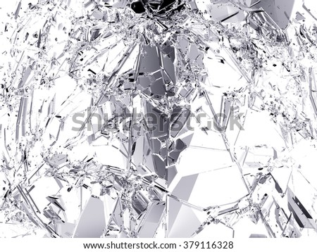 Pieces of destructed Shattered glass.  - stock photo