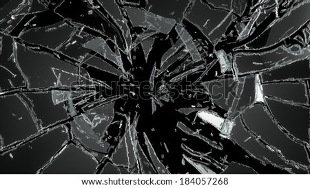 Pieces of destructed Shattered glass on black - stock photo