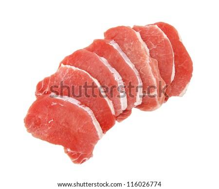 Pieces of Fresh pork meat escalope - stock photo