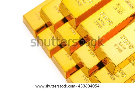 pieces of gold bars stacked up on a white background - stock photo