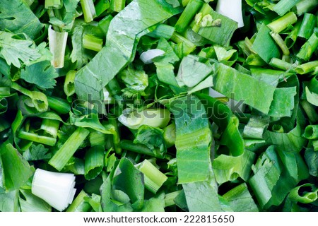 Pieces of green vegetables green onions on ground