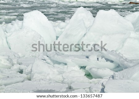 Pieces of ice on a seashore