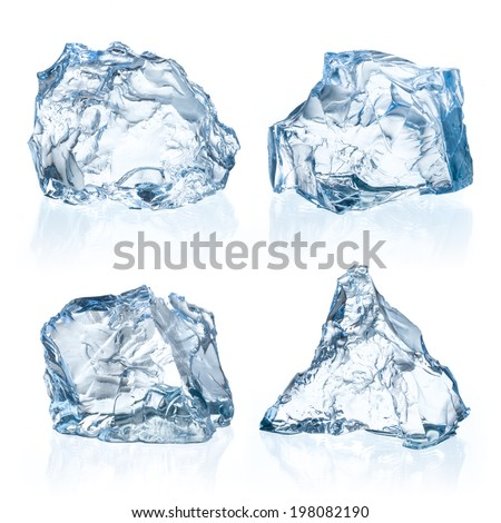 Pieces of ice on a white background. - stock photo