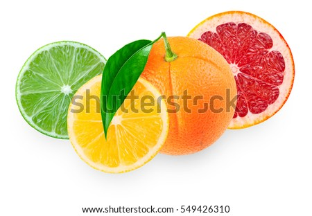 Pieces of lemon, lime, grapefruit and orange with leaf isolated on white background