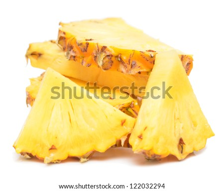 pieces of pineapple on white - stock photo