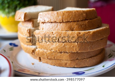 Pieces of Polish bread on plate