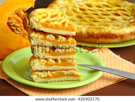 Pieces of pumpkin pie. - stock photo