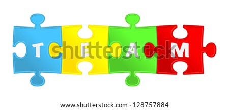 """pieces of puzzle and word """"team"""". - stock photo"""