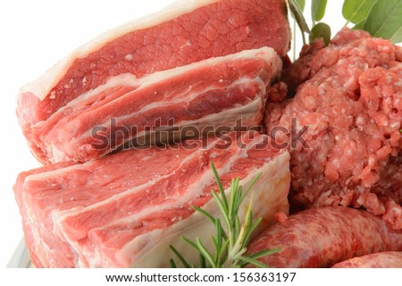 pieces of raw meat mixed