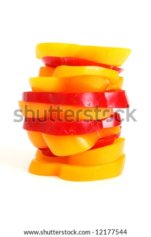 Pieces of red and yellow pepper