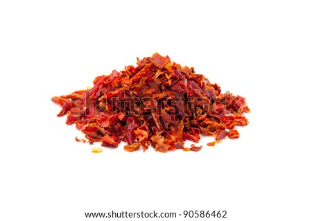 pieces of red sweet peppers - stock photo