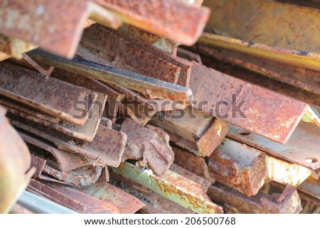 pieces of rusty metal.scrap metal - stock photo