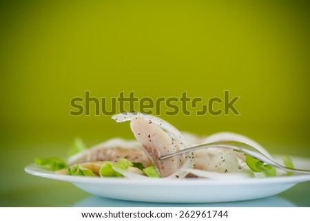 pieces of salted herring with onions and spices - stock photo