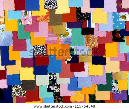 pieces of scrappy colored fabric - stock photo