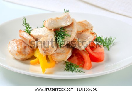 Pieces of seared chicken meat