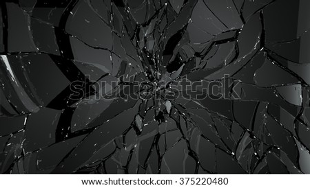 Pieces of Shattered glass on black background. Large resolution - stock photo
