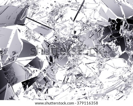 Pieces of Shattered glass on white background.